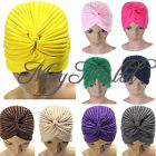 Indian Cap Pleated Head Wrap Turban Stretchy  Band Hat Cloche Chemo Hijab Q
