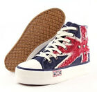 New Womens Union Jack Canvas Sport Sneakers Platform Lace Up Casual Wedge Shoes