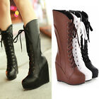 NEW Women Lace up Goth Punk Boots Mid Calf Synthetic Leather Riding Combat Boots