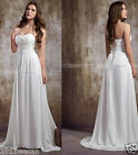 Chiffon  Long  White/Ivory Sweetheart  Wedding Dress Stock Size 6 8 10 12 14 16