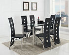 Black Glass Dining Room Table Set and with 4 or 6 Faux Leather Chairs Chrome New