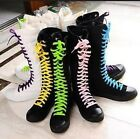 PUNK ROCK Canvas Boot Women Shoes Gril Sneaker Flat Tall Lace Up Knee High Shoes