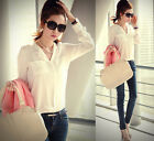 Fashion Womens Chiffon Tops Long / Medium Sleeve Button Down Shirt Casual Blouse