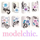 3D Nail Art Stickers Red Blue Pink Rose Purple Flowers Butterfly w/ Rhinestones