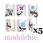 5x 3D Nail Art Stickers Red Blue Pink Rose Purple Flowers Butterfly