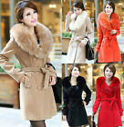 Trendy Women's Fur Collar Wool Double-breasted Warm Outwear Trench Jacket Coat