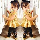 Baby Girl Clothing Set Gold Color Vest Tee +Black Bow Leggings For 6M-6T Girl