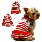Pet Dog Puppy Sailor Navy Stripe Skirt Dress Clothes Apparel