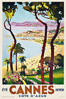 Vintage Art Deco FrenchTravel Poster Cannes Cote D'Azur 30s Retro Beach Harbour