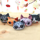 Realistic 3D Cat Face Printing Women Girls Change Coin Purse Retro Mini Wallets