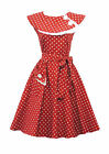 Rosa Rosa Vtg 1950s Retro Red  Polka Dot Rockabilly Party Prom Swing Tea Dress