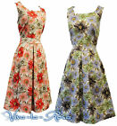 New Floral WWII 1940's Vintage style Land Girl Home-Front Swing Tea Dress