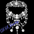 Elegant English Rose Clear Rhinestones Tiara Hair Pin Necklace &Earrings Clip-On