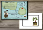 10 PERSONALISED PIRATE MAP BIRTHDAY PARTY INVITATIONS