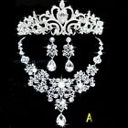 Set of Coronet Necklace Earrings Diamante Wedding Bridal Crown Crystal Jewel New