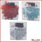 Christmas Decoration - 6 Pack Glitter 12cm Snowflakes - Red Silver or Blue