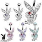 Multi Colored Gems on Playboy Bunny 316L Surgical Steel Navel Ring