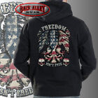 FREEDOM ISN'T FREE Patriotic Eagle HOODED SWEAT SHIRT ~ American Flag Skulls USA