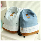 Womens Vintage Denim Lace Travel Casual Satchel Backpack Rucksack SchoolBag Bag