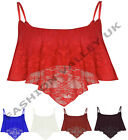 NEW WOMENS LADIES FULL FLORAL LACE MESH CAMISOLE STRAPPY BRA CAMI VEST TOP 8-14
