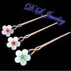 Natural Colorful Jade Plum Flower Brass Hair Pin