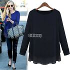 New women Contrast Long Sleeve Two Layer Tiered Knit with Chiffon Top Blouse B5U