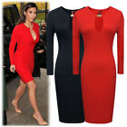 Womens Vintage Pinup OL Business Casual Slit  Sleeve Evening Midi Dress Cocktail