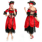Elite 4 Sets Ladies Womens Victorian Pirate Wench Halloween Costume Party Outfit