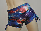 Hot Yoga Shorts Workout Pole Fitness Roller Derby Low Rise Blue Galaxy