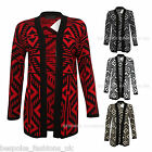 New Ladies Womens Xmas Winter Knitted Aztec Open Cardigan One Size 8-14