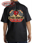 SPEED DEMONS Hot Rod Shop Mechanics Dickies Work Shirt ~ Red Devil Racing