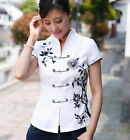 BL white black Chinese style Women's Top Dress/ T-shirt blouse 6.8.10.12.14.16