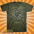 """NEW """"CALLED TO SERVE"""" KERUSSO ADULT CHRISTIAN T-SHIRT the King Military Green"""