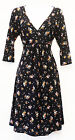 New Slinky Black Ditsy Floral 1940's WW2 style Land Girl Wartime Tea Dress