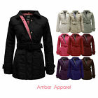 Ladies Coat Jacket Quilted Belted Padded Zip Top Plus Size US 6-18 New