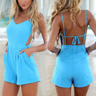2014 Celeb New Sexy Women V Neck Backless Beach Summer Jumpsuit Playsuit Shorts