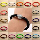 Shamballa PU leather Crystal Magnetic lock Clasp Bracelet Charm Disco Beads Cuff