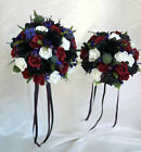 Country Style Wedding Flowers  Black/burgundy Roses, Thistles, Pride Of Scotland