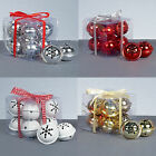 Christmas Tree Decoration 8 Pack Snowflake 40mm Jingle Bell Baubles - 4 Colours