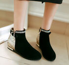 Winter Womens Faux Suede Chic Glitter Round Toe Flats Buckle Zipped Ankle Boots