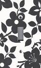 Light Switch Plate Outlet Covers BLACK FLORAL Black Flowers on White Background
