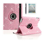 360º Rotating Bling Leather Case Cover with Bluetooth Keyboard for ipad 2 3 4