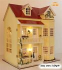 Wooden Dollhouse Miniatures DIY House Kit w Led Light and Music--Large villa