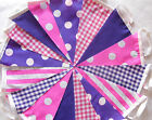 Handmade Fabric Bunting Pink & Purple 20 ft & 40 ft Celebration - Party