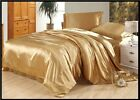 SOFT CAMEL SOLID  SATIN SILK FITTED/DUVET/SHEET SET/SKIRT CHOOSE SIZE& ITEMS