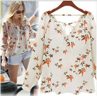 Women Western Casual Loose Long Sleeve T-shirt Chiffon Shirt Blouse White Tee