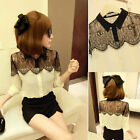 Women Vintage Lace Splicing Long Sleeve Button Down Tops Bottoming Shirt Blouse