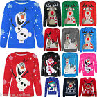 BOYS GIRLS CHILDRENS OLAF FROZEN NOSE KIDS XMAS CHRISTMAS NOVELTY JUMPER SWEATER