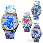 Womens Stylish Geneva Watch Analog Elegant Flowers Pattern Quartz Wrist Watches
