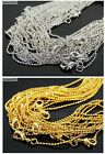 18K Silver / Gold Plated Ball Necklace Chains Lobster Clasp 17'' Inches Findings